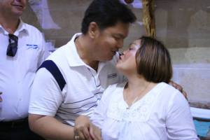 Mr. and Mrs. Dante and Luzviminda Caluag during the short celebration after their Renewal of Marriage Vows in a souvenir shop (courtesy of Rence Galbo)