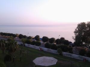 Viewed from Room 214 of Rimonim Mineral Hotel, Tiberias at 6:20AM