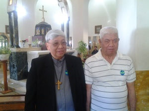 Bishop Dinulado D. Gutierrez DD inside the Church of Mount of Beatitudes with Just Grino