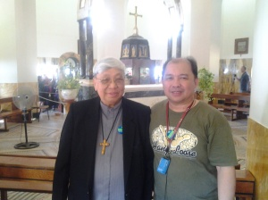 Bishop Dinulado D. Gutierrez DD inside the Church of Mount of Beatitudes with Me