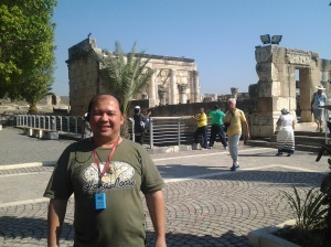 Me, at the back is the Old Synagogue in Capharnaum