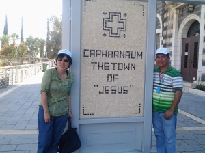 Fr. Estong and Belle at the Entrance 0 Capharnaum