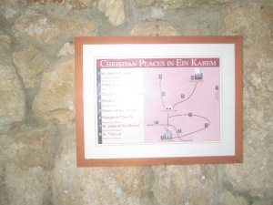 Map of Christian Places in Ein Karem