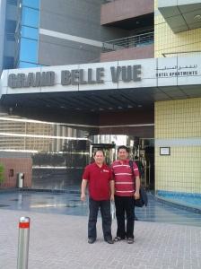 Outside grand Belle Vue Hotel-Dubai