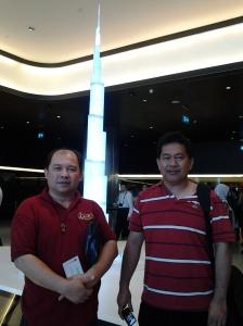 Me and Fr. Estong at a Silver Replica of Borj Khalifa-Dubai
