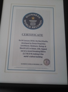 Guinness Book of World Records Cert of Borj Khalifa as the world's tallest building