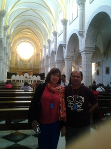 Me and Marigem inside the Saint Catherine Church - Bethlehem