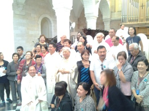 Taking pictures after the Mass at St. Catherine Church-Nativity bethlehem
