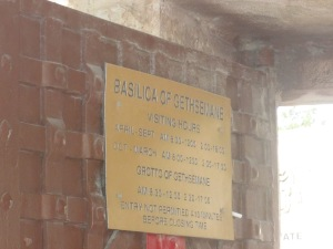 Basilica of gethsemane Sign