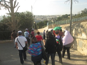 Some of our co-pilgrims on our way to Dominus Flevit passing by Palm Sunday Road