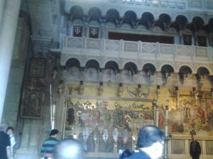 entering holy sepulchre where the cross was enshrined