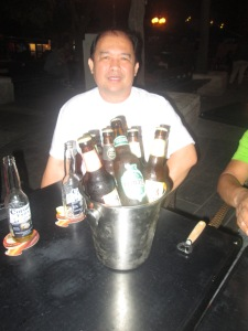 Me with ots of Beer at Gimmick at Jaffa St. Jerusalem
