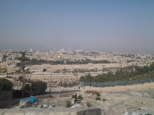 Rock of dome viewed from mt of olives ascension church