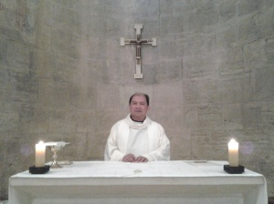 Me at altar of the crusader church, Emmaus before the Mass
