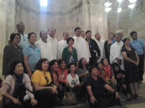 My Co-pilgrims after the Mass at the Crusader Church Emmaus