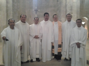After the Mass at The Priests together with Bishop D. Gutierrez at Emmaus Church (Crusader Church) - Abu Gosh