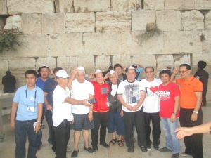 Male Pilgrims of our Group at the Western (Wailing) Wall