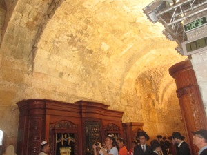 Inside the synagogue of the Western (Wailing) Wall