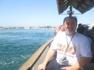 Me, riding on a boat called 'Abra' from dubai museum to market